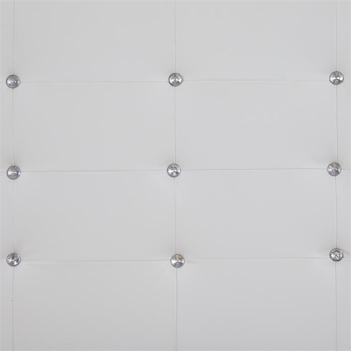 Lit simple JOLIEN, 120 x 190 cm, capitonné avec sommier, revêtement synthétique blanc