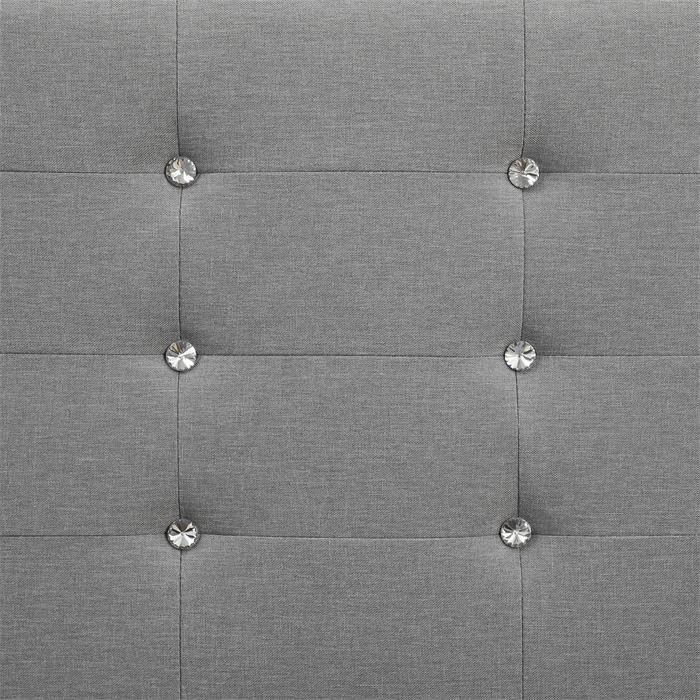 Lit simple JOLIEN, 120 x 190 cm, capitonné avec sommier, revêtement en tissu gris