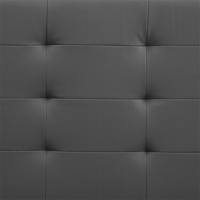 Lit double MATHIEU, 140 x 190 cm, capitonné avec sommier, revêtement synthétique gris