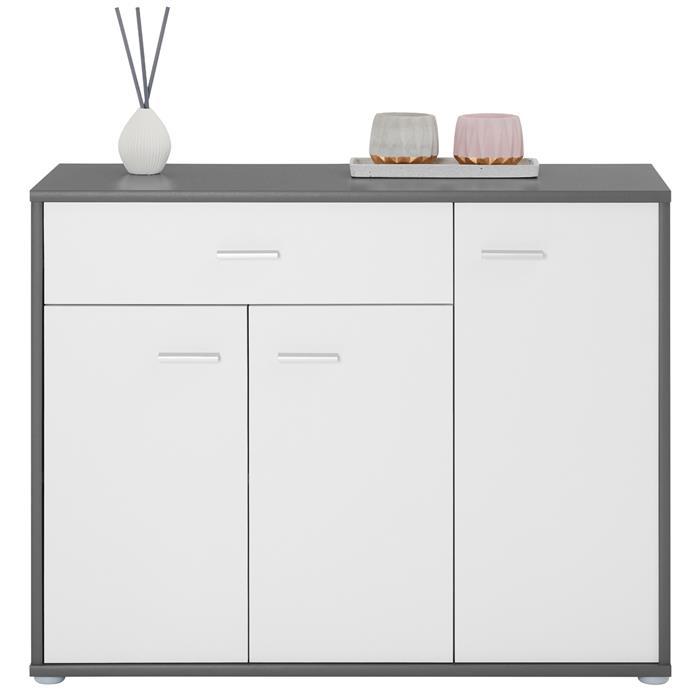 Buffet CORALINE, en mélaminé gris et blanc mat