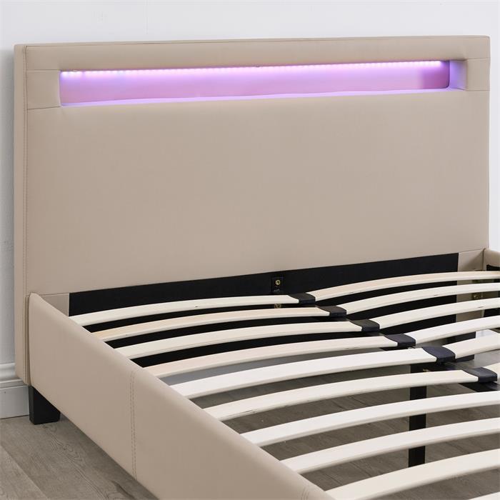 Lit simple MIRANDO, 120 x 190 cm, avec LED intégrées et sommier, revêtement synthétique brun