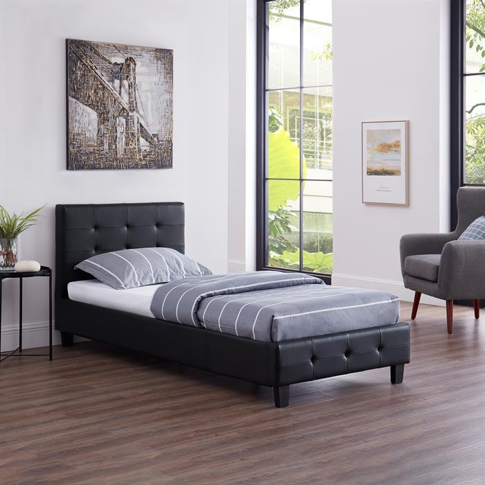 Lit simple REVE, 90 x 190 cm, capitonné avec sommier, revêtement synthétique noir