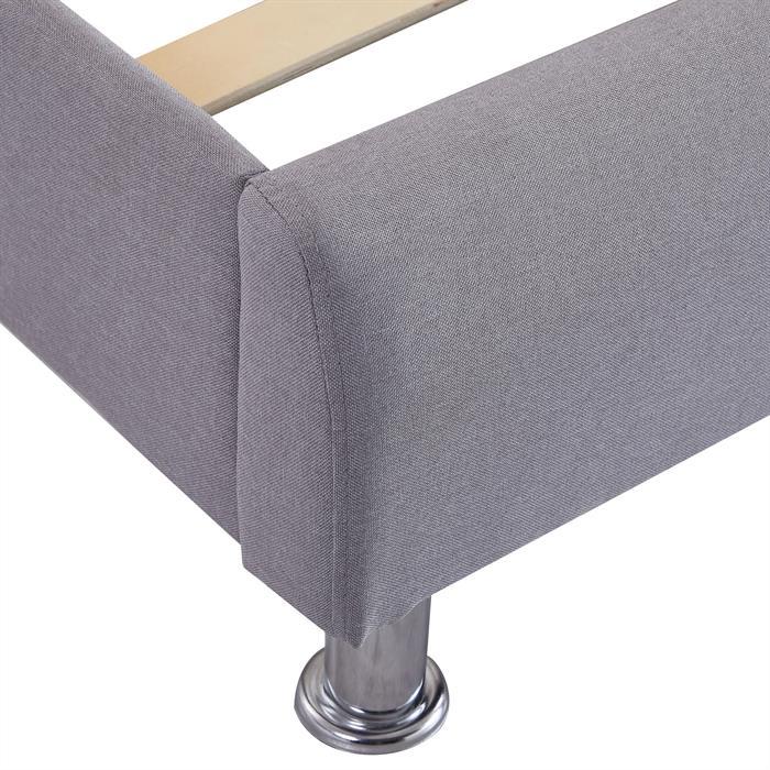 Lit double CANNES, 140 x 190 cm, capitonné avec sommier, revêtement en tissu gris