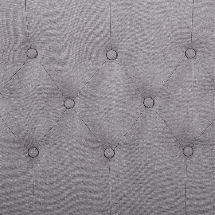 Lit simple BIARRITZ, 90 x 190 cm, capitonné avec sommier, revêtement en tissu gris