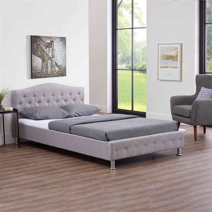 Lit simple BIARRITZ, 120 x 190 cm, capitonné avec sommier, revêtement en tissu gris