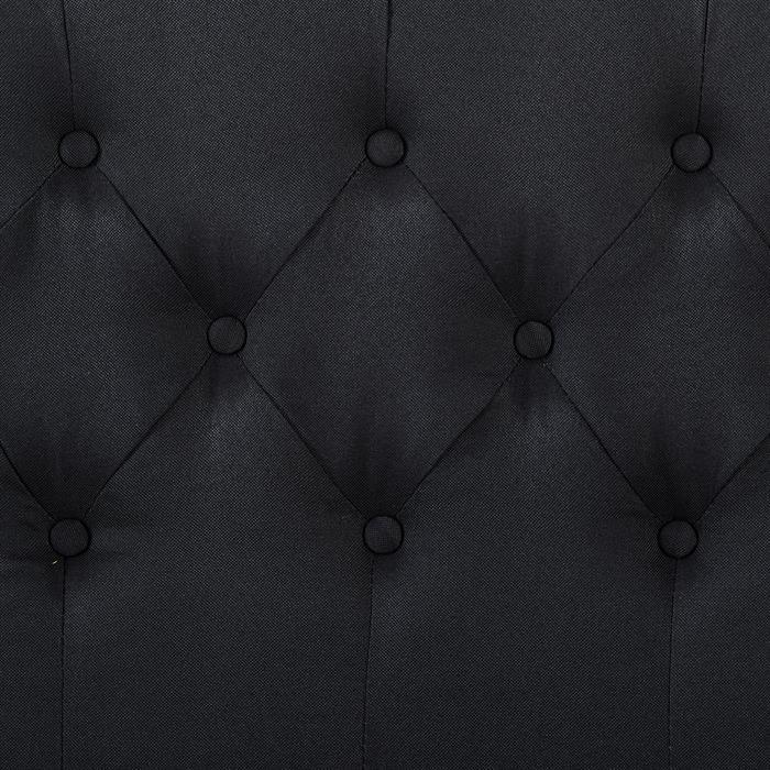 Lit simple BIARRITZ, 120 x 190 cm, capitonné avec sommier, revêtement en tissu noir
