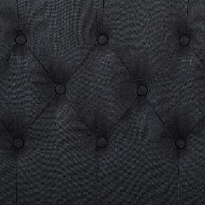 Lit double BIARRITZ, 140 x 190 cm, capitonné avec sommier, revêtement en tissu noir