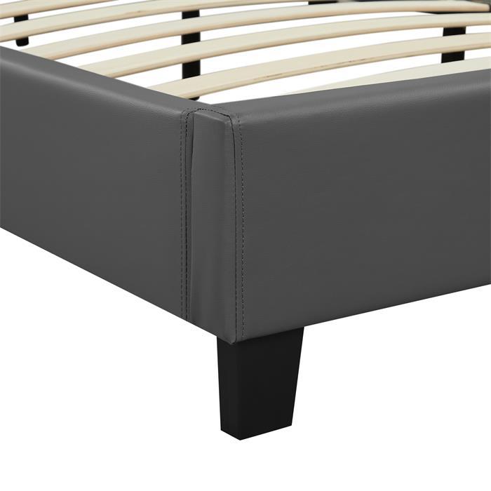 Lit double ROXY, 160 x 200 cm, avec sommier, revêtement en synthétique gris