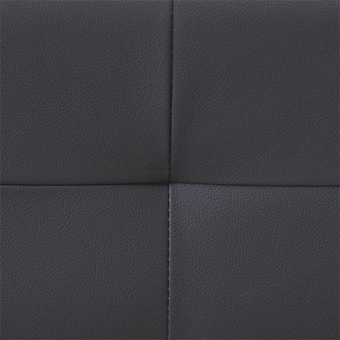 Lit double futon GOMERA, 160 x 200 cm, avec sommier, revêtement synthétique noir