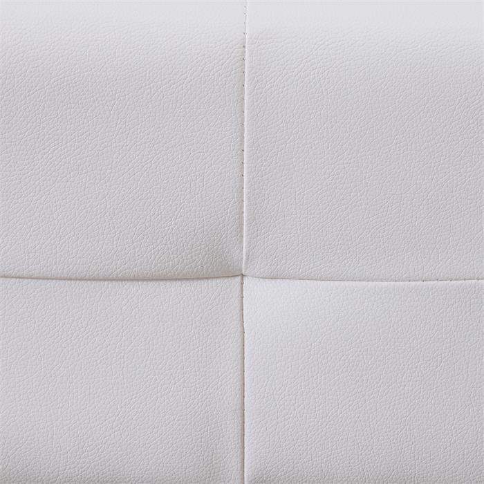 Lit double futon GOMERA, 180 x 200 cm avec sommier, revêtement synthétique blanc