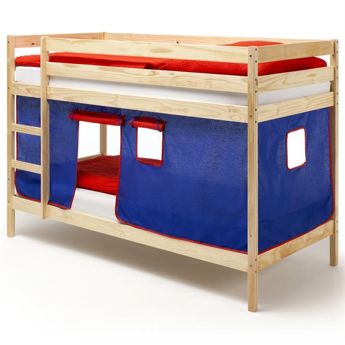 Lit superposés en pin vernis naturel FELIX avec rideaux, bleu/rouge