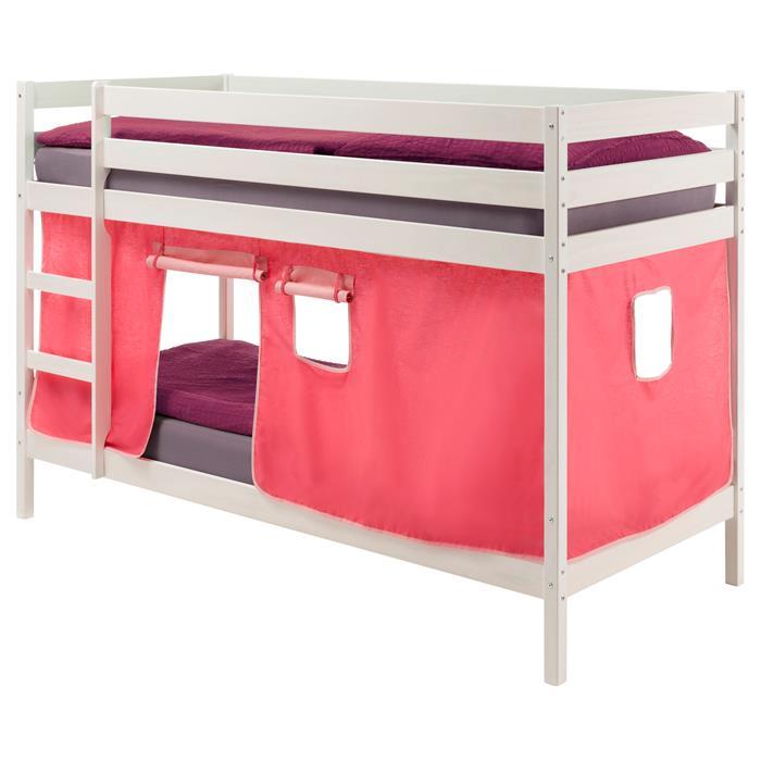 Lits superposés en pin lasuré blanc FELIX avec rideaux, rose