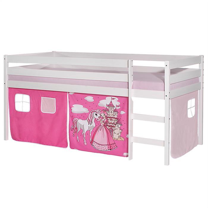 Lit surélevé ERIK en pin lasuré blanc, avec rideaux, motif Princesse rose
