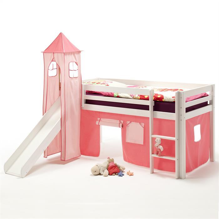 Lit surélevé en pin lasuré blanc MAX avec toboggan, donjon et rideaux rose