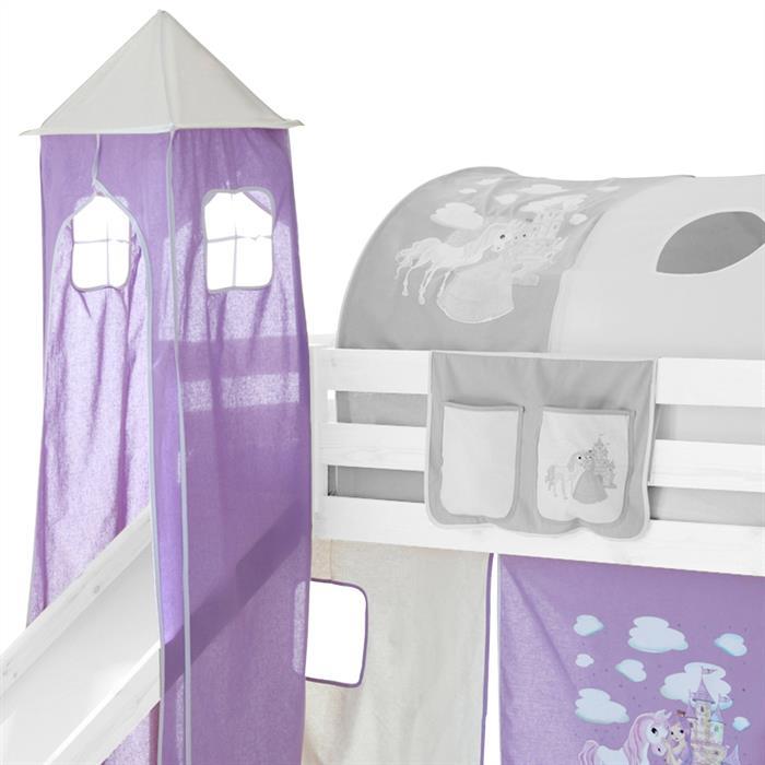 Donjon MAX pour lit surélevé avec toboggan, motif princesse