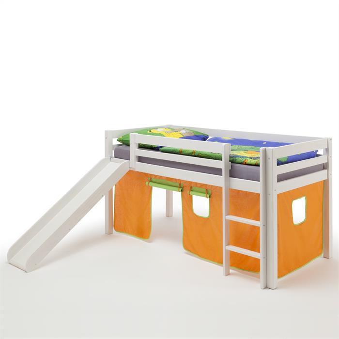 Lit surélevé en pin lasuré blanc MAX avec toboggan et rideaux, orange/vert