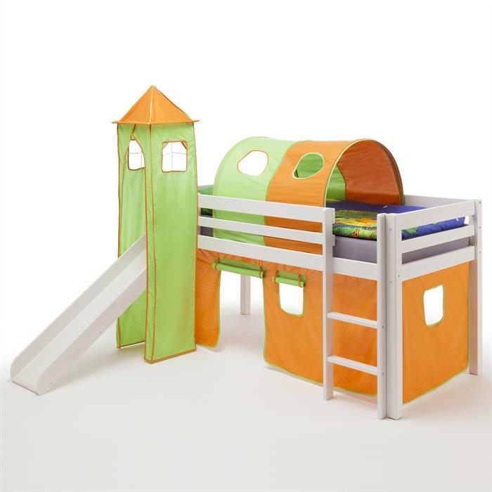Lit surélevé en pin lasuré blanc MAX avec toboggan, rideaux, donjon et tunnel, orange/vert