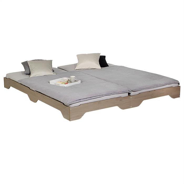 Lot de 2 lits superposables RONNY en pin, 90 x 200 cm, lasuré taupe