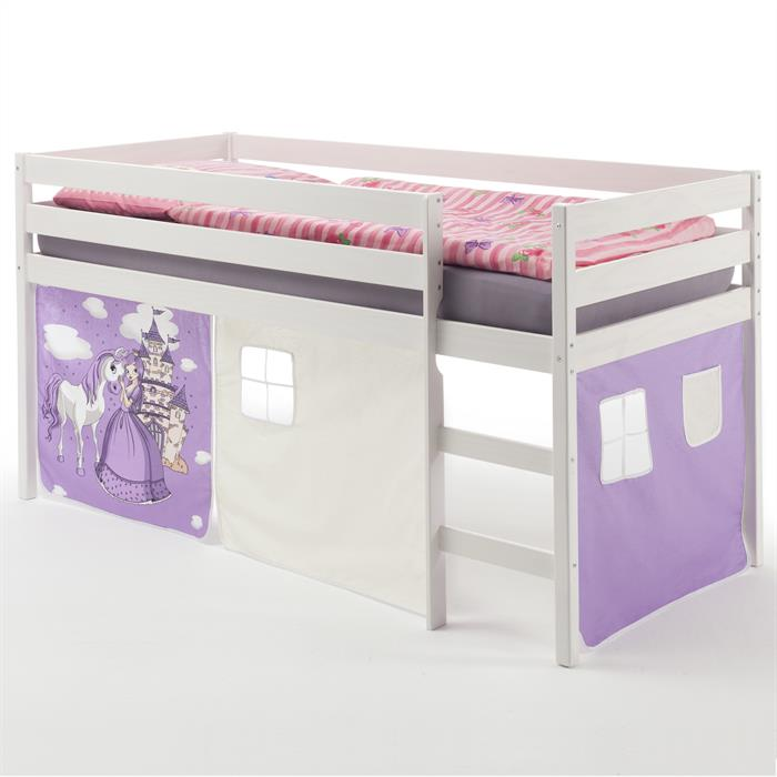 lit sur lev erik en pin lasur blanc avec rideaux motif princesse violet mobil meubles. Black Bedroom Furniture Sets. Home Design Ideas
