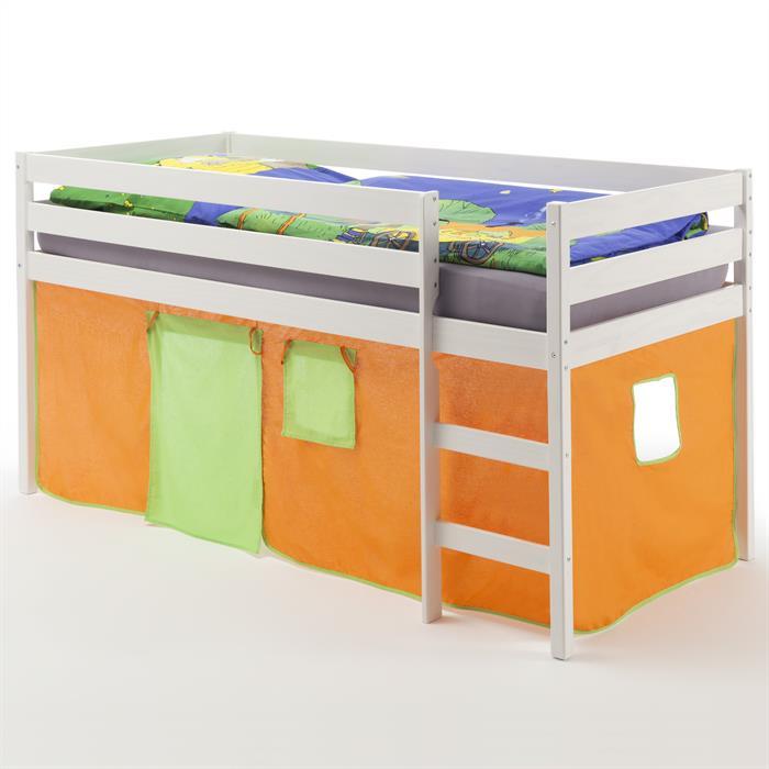 Lit surélevé en pin lasuré blanc ERIK avec rideaux, orange/vert