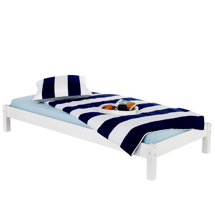 Lit futon TAIFUN, en pin massif, 90 x 200 cm, lasuré blanc
