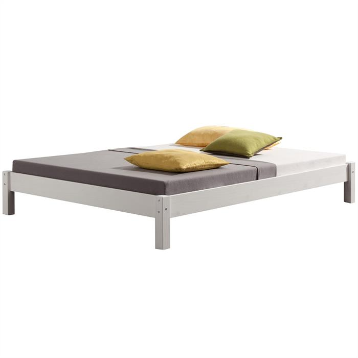Lit futon TAIFUN, en pin massif, 140 x 200 cm, lasuré blanc