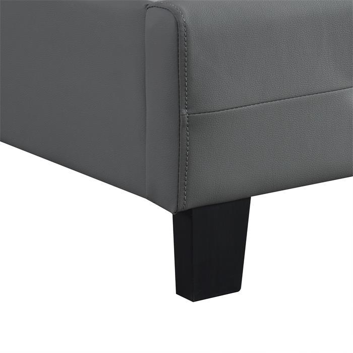 Lit simple TICO, 90 x 190 cm, capitonné avec sommier, revêtement synthétique gris