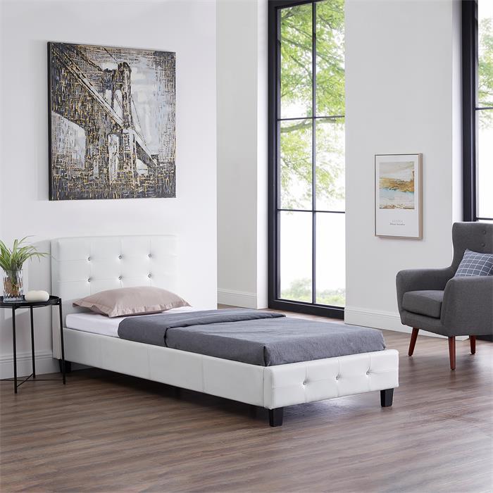 Lit simple TICO, 90 x 190 cm, capitonné avec sommier, revêtement synthétique blanc