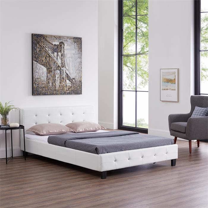 Lit double JOSY, 140 x 190 cm, capitonné avec sommier, revêtement synthétique blanc