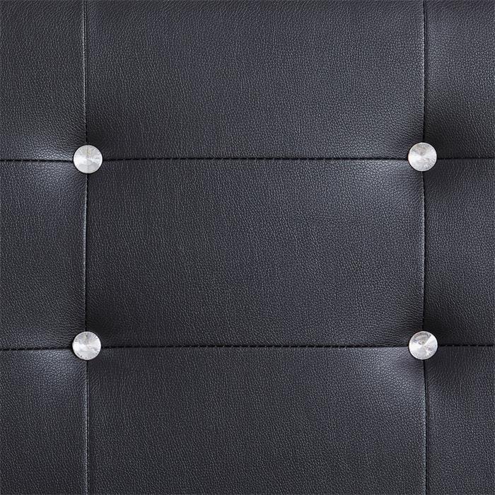 Lit double JOSY, 140 x 190 cm, capitonné avec sommier, revêtement synthétique noir