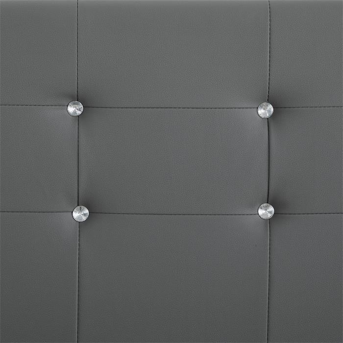 Lit double JOSY, 140 x 190 cm, capitonné avec sommier, revêtement synthétique gris