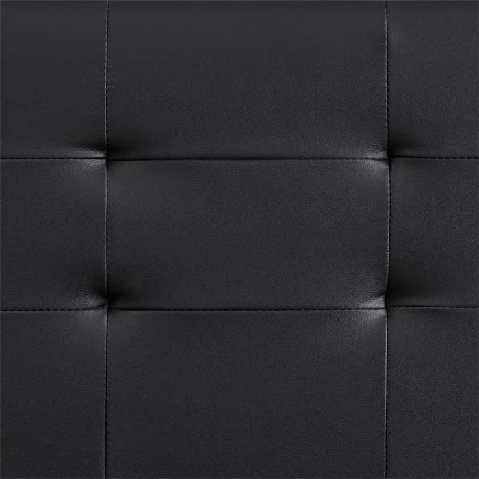 Lit double MATHIEU, 140 x 190 cm, capitonné avec sommier, revêtement synthétique noir