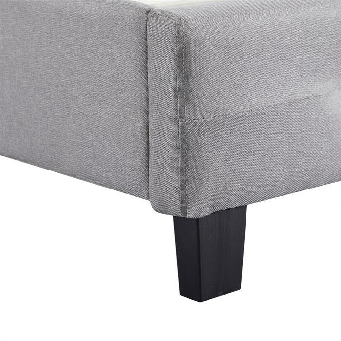 Lit double MATHIEU, 140 x 190 cm, capitonné avec sommier, revêtement en tissu gris