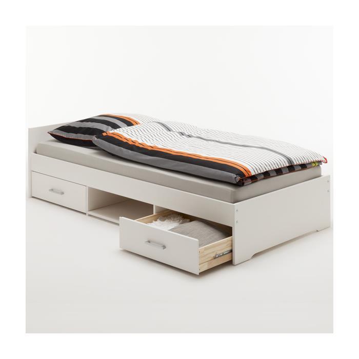 Lit fonctionnel en pin KAI, 90 x 200 cm, lasuré blanc