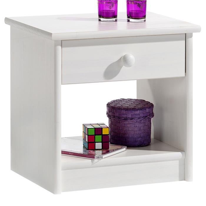 Table de chevet en pin MORITZ, lasuré blanc