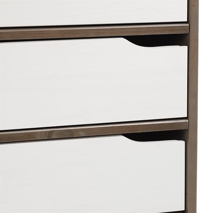 Bureau en pin massif HUGO, lasuré taupe et blanc