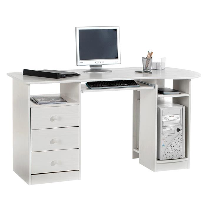 bureau en pin bob lasur blanc mobil meubles. Black Bedroom Furniture Sets. Home Design Ideas