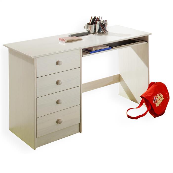 Bureau enfant MALTE, 4 tiroirs, lasuré blanc