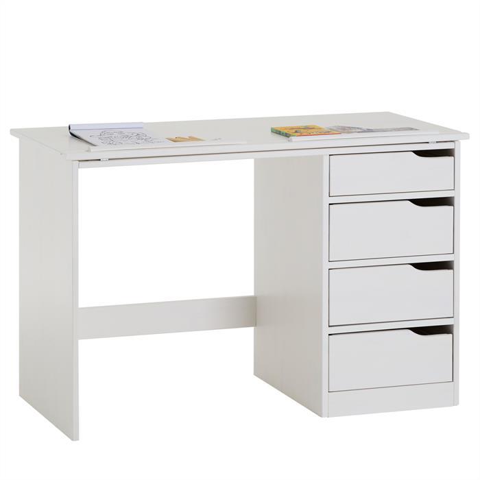 Bureau enfant EMMA, en pin massif, 4 tiroirs et plateau inclinable, lasuré blanc