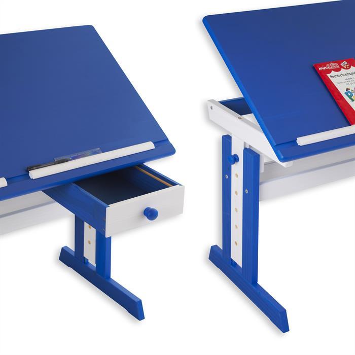 Bureau enfant FLEXI, en pin massif, réglable en hauteur et plateau inclinable, lasuré blanc et bleu