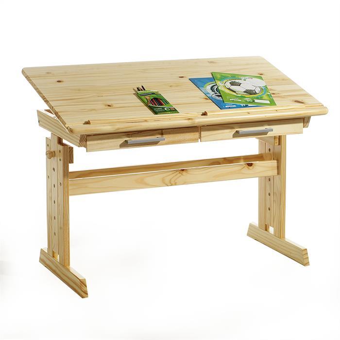 Bureau enfant OLIVIA, en pin massif, réglable en hauteur et plateau inclinable, vernis naturel