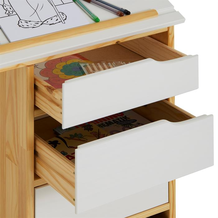 Bureau enfant EMMA, en pin massif, 4 tiroirs et plateau inclinable, naturel et lasuré blanc