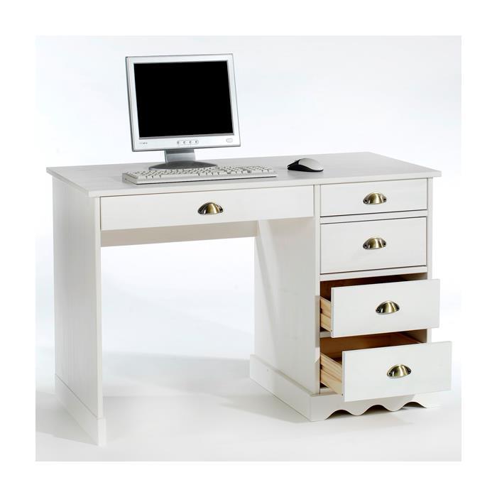 Bureau en pin COLETTE, lasuré blanc