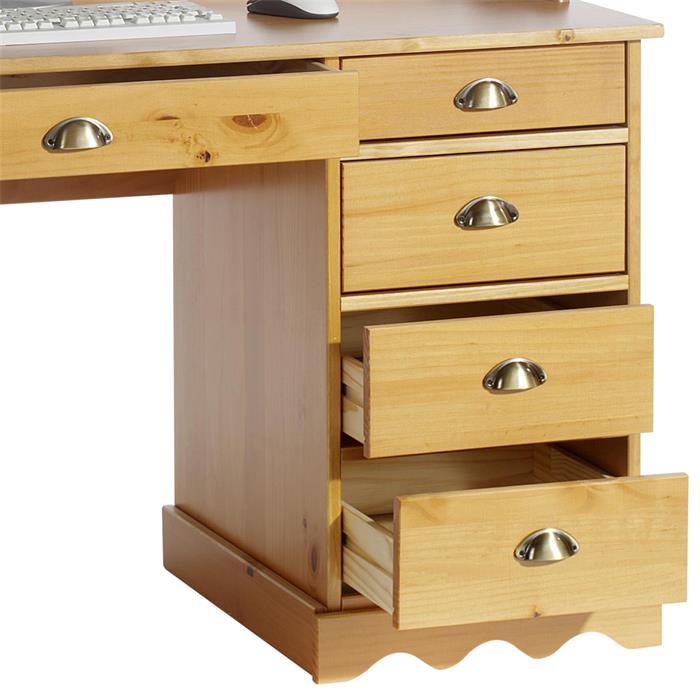 Bureau en pin COLETTE, avec corniche, lasuré couleur miel