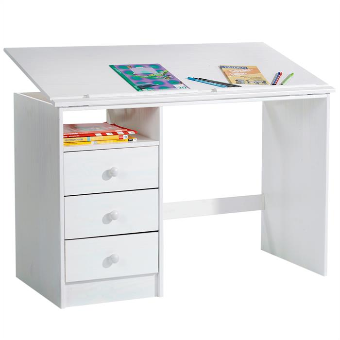 Bureau enfant kevin en pin massif 3 tiroirs et plateau inclinable lasur blanc mobil meubles - Bureau enfant pin massif ...