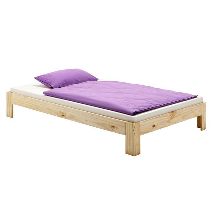 Lit futon THOMAS, en pin massif, 90 x 200 cm, vernis naturel