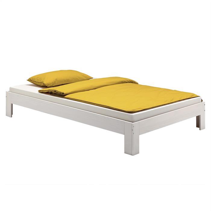 Lit futon THOMAS, en pin massif, 90 x 200 cm, lasuré blanc