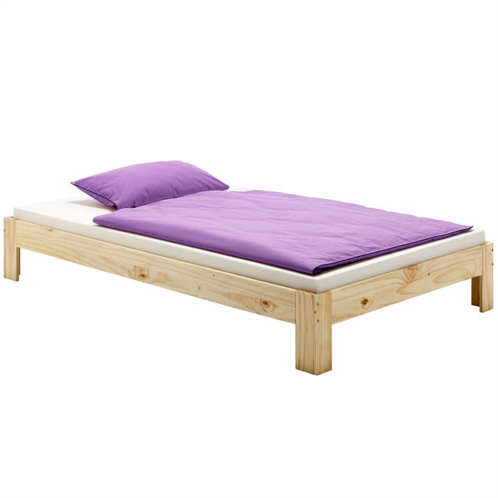 Lit futon THOMAS, en pin massif, 140 x 200 cm, vernis naturel