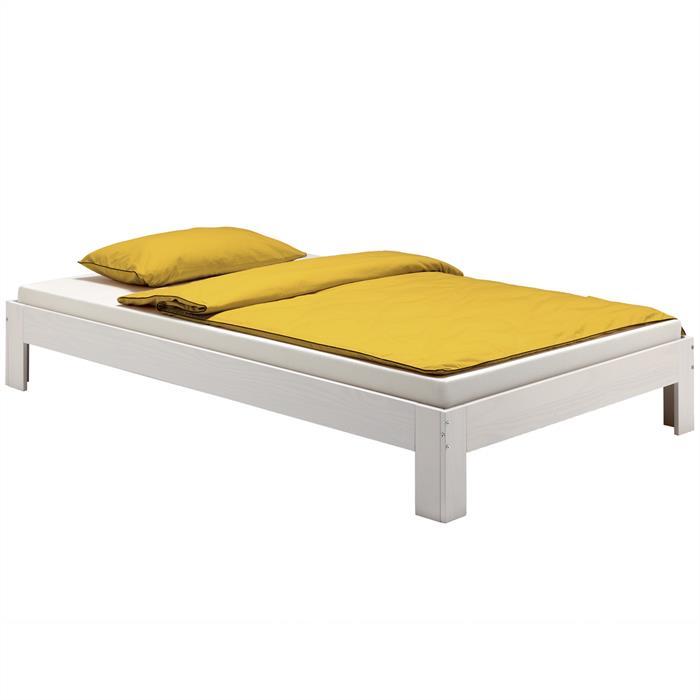Lit futon THOMAS, en pin massif, 140 x 190 cm, lasuré blanc