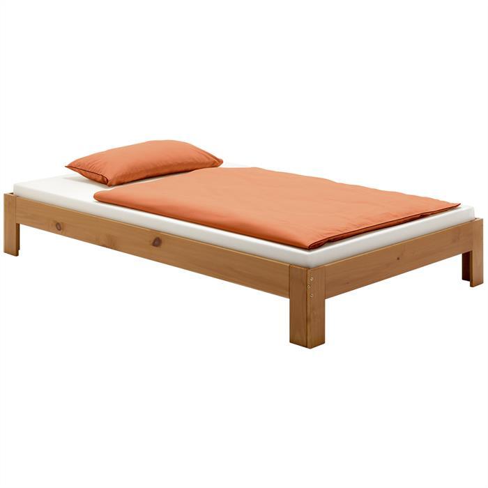 Lit futon THOMAS, en pin massif, 120 x 200 cm, lasuré couleur campagne
